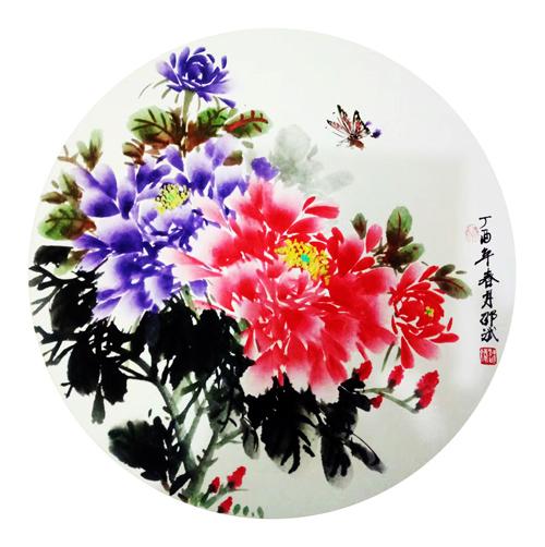 国色天香 圆形扇面 丁酉春月