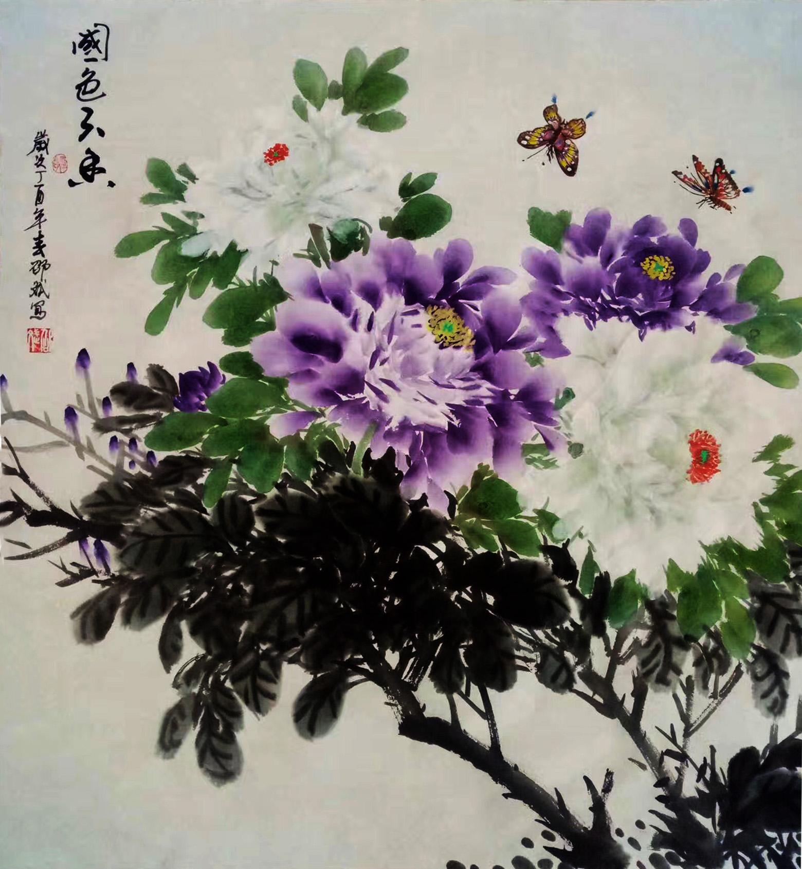 国色天香 斗方 丁酉春月