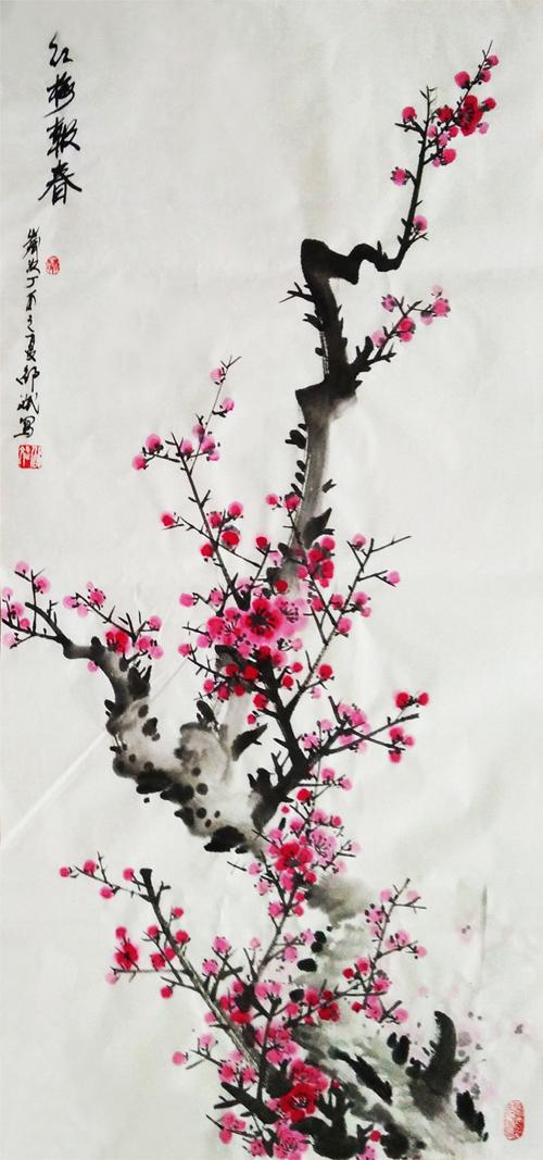 红梅报春 条幅 丁酉之夏