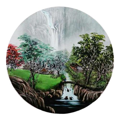 油画 山水人家 圆形扇面