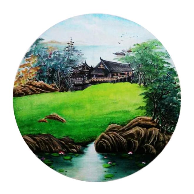 油画 田园风光 圆形扇面