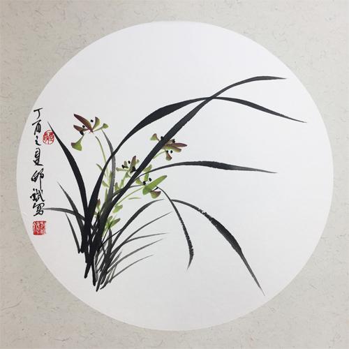 兰花 圆形扇面 丁酉之夏