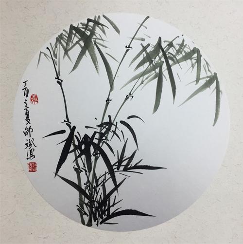 竹子 圆形扇面 丁酉之夏