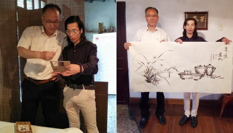 """和""""一带一路""""中华文化走出去全球艺术巡展总策划沈祖宏先生交流合影"""