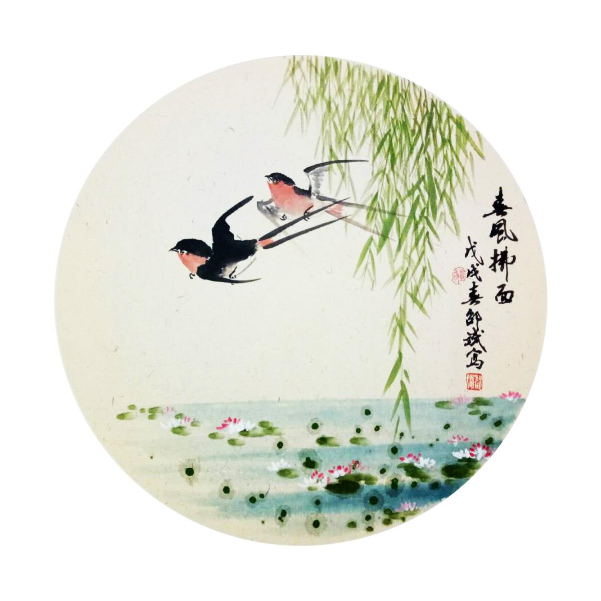春风拂面 燕子、荷塘、垂柳 圆形扇面