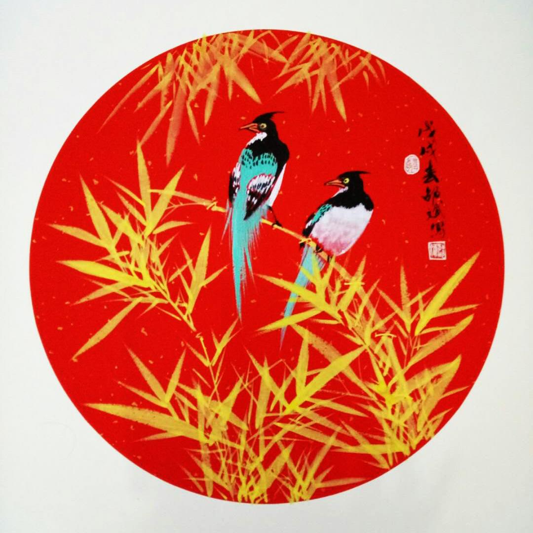 喜上枝头 喜鹊、竹子 圆形扇面