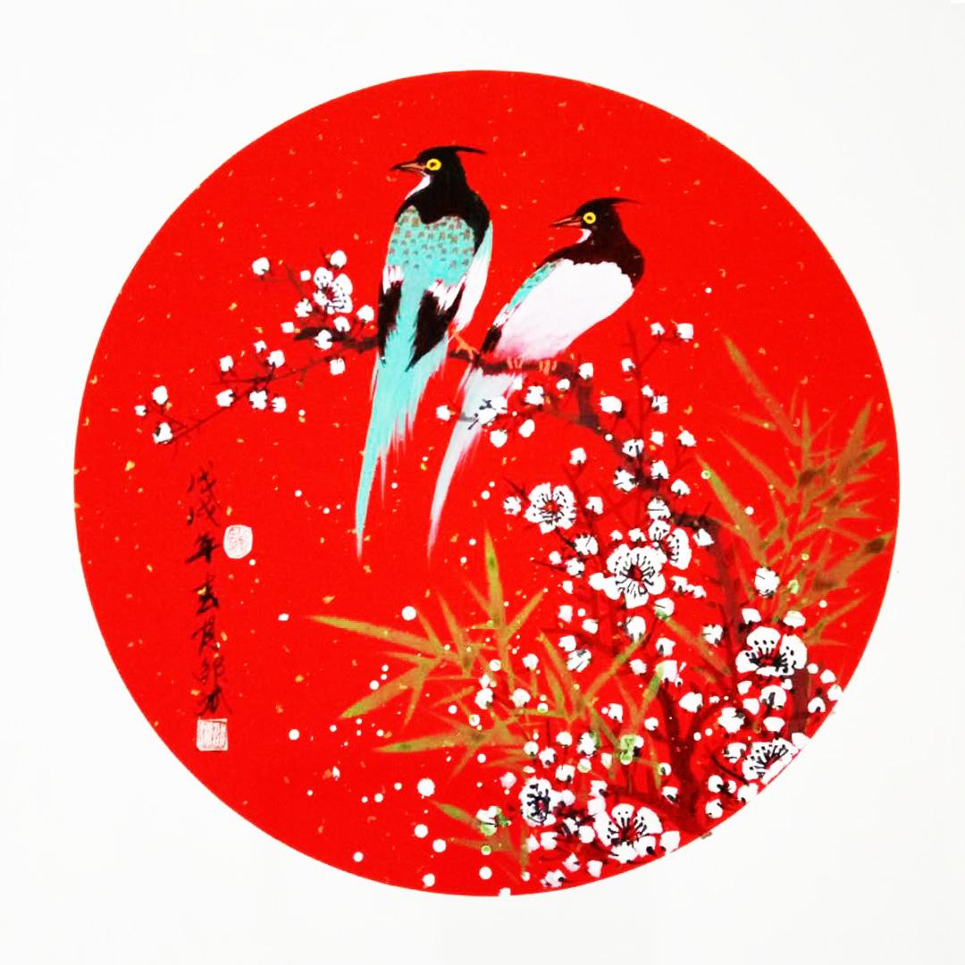 喜上眉梢 喜鹊、梅花、竹子 圆形扇面
