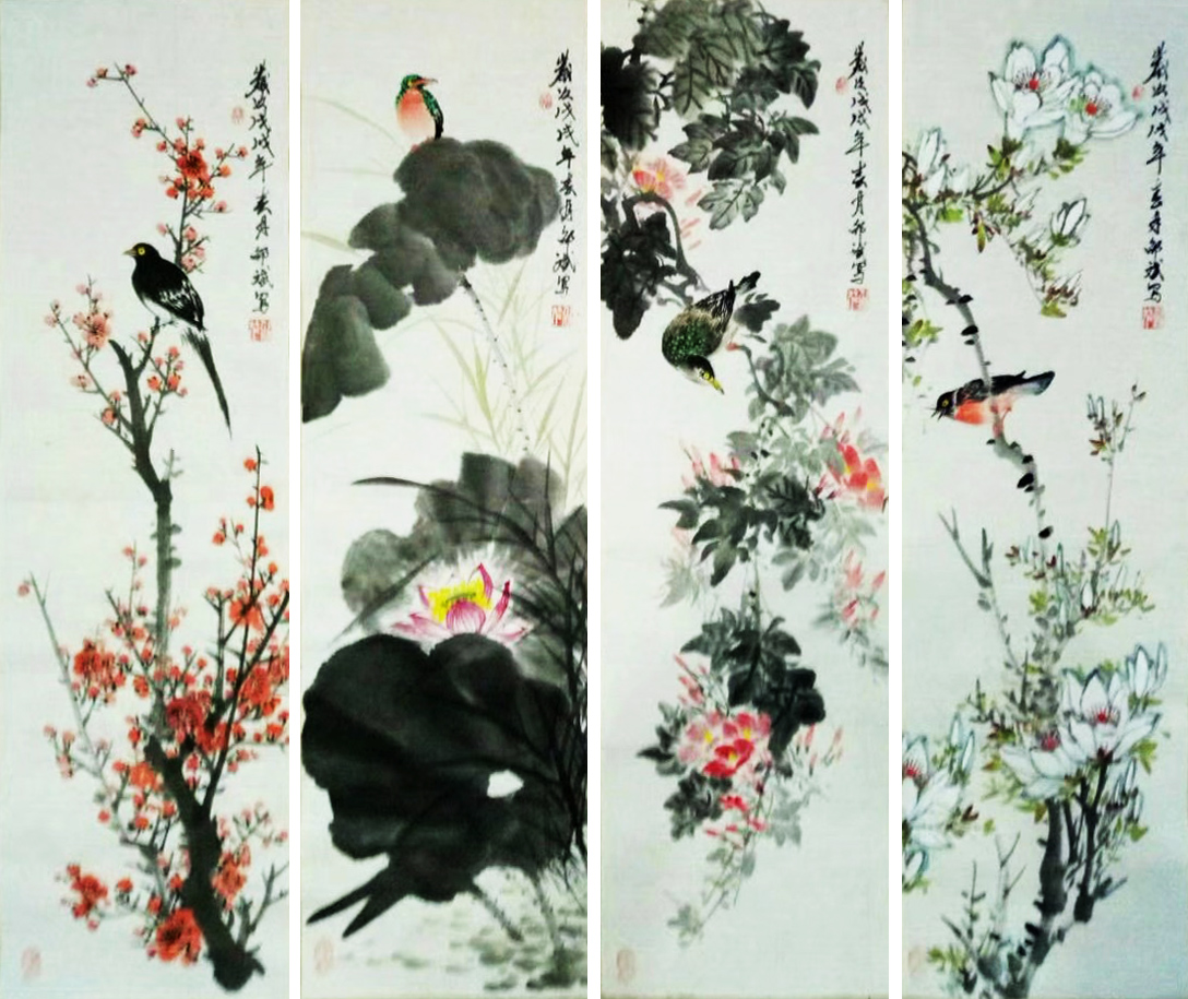 花鸟画四条屏 四尺条幅 戊戌春月