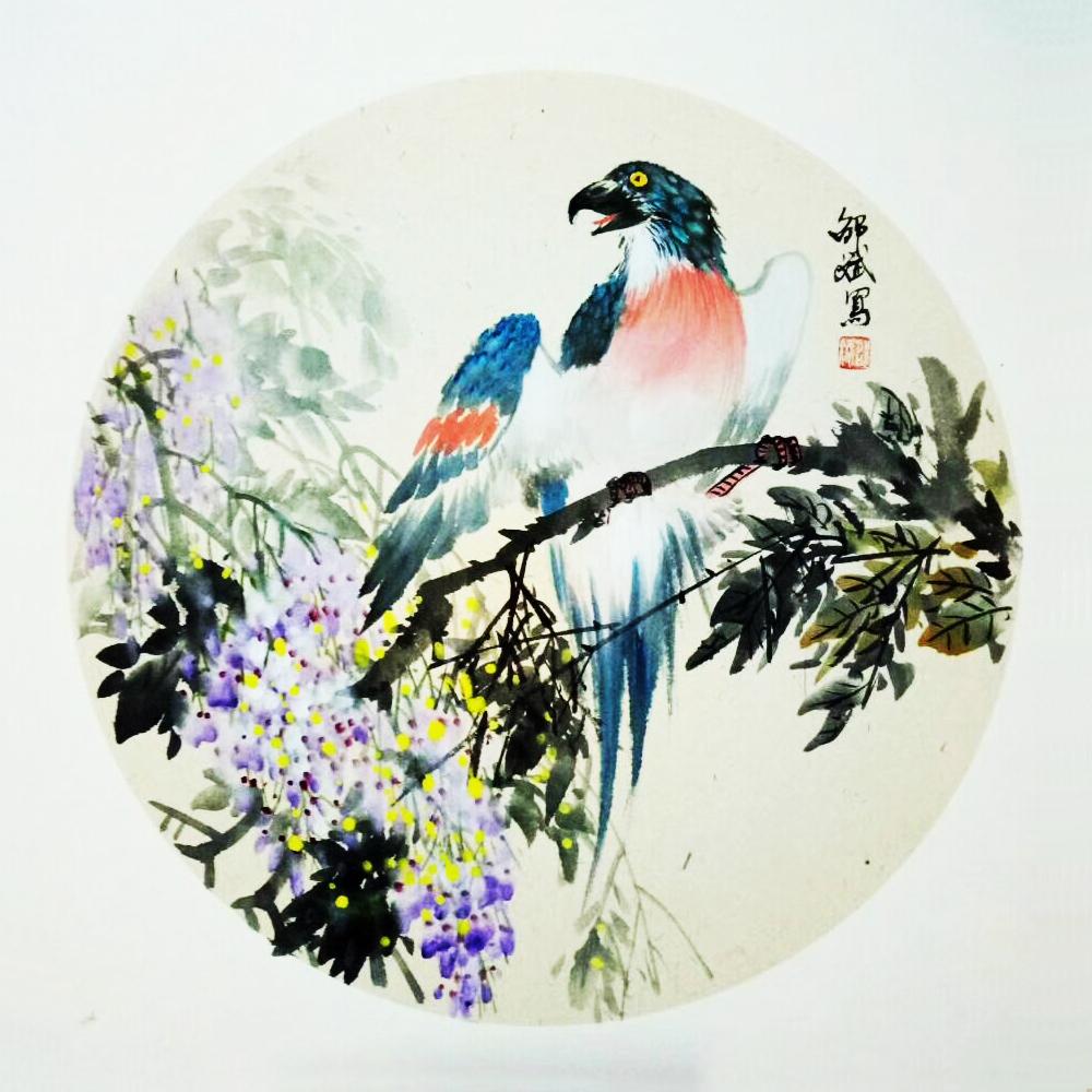 紫气东来 紫藤花 花鸟画 圆形扇面