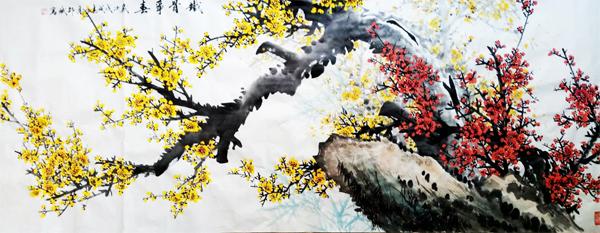 铁骨争春 梅花 红梅 四尺条幅 戊戌春月