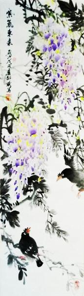 紫气东来 紫藤花 喜鹊 花鸟画 四尺条幅