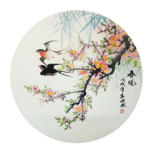 春晓 燕子、花鸟 圆形扇面