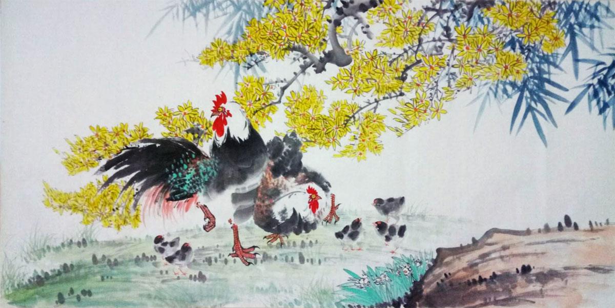 五福报春 迎春花、鸡 戊戌春月
