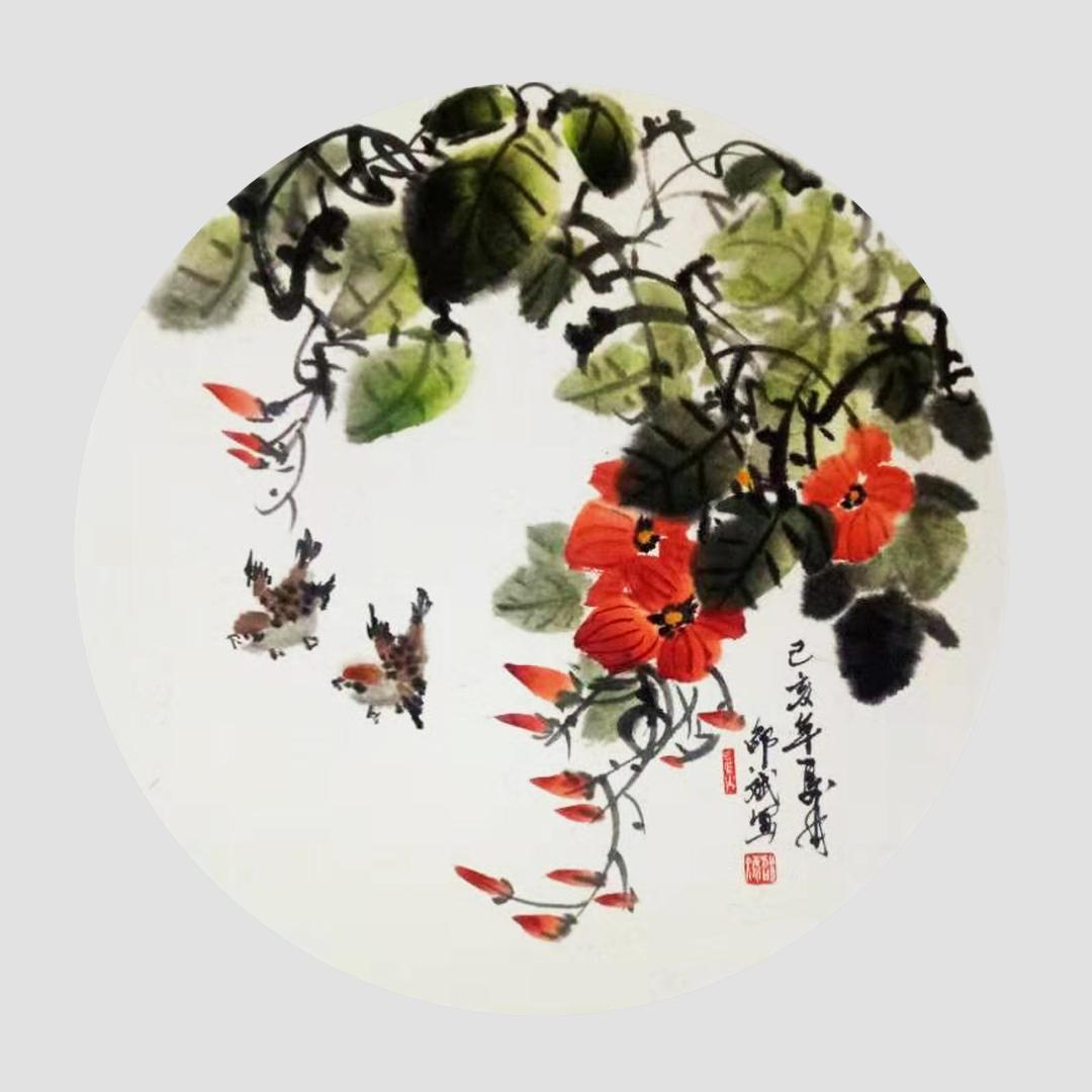 春晖 家雀、喇叭花花鸟画 圆形扇面 乙亥年夏月