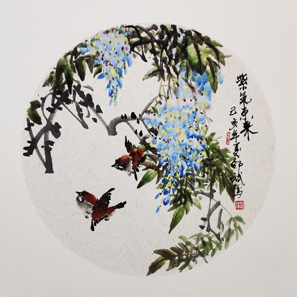 紫气东来花鸟画 家雀、紫藤花国画 圆形扇面 己亥年夏