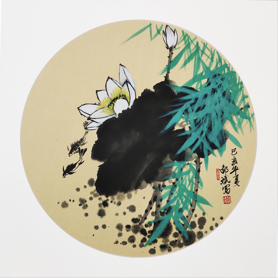 荷风 白荷、鱼、竹子国画 圆形扇面 己亥年夏