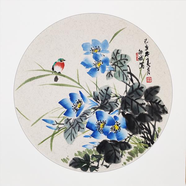 鸟语花香国画 花鸟画 圆形扇面 己亥年夏月