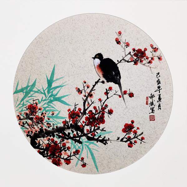 喜上眉梢国画 喜鹊、梅花 花鸟画 圆形扇面 己亥年夏月