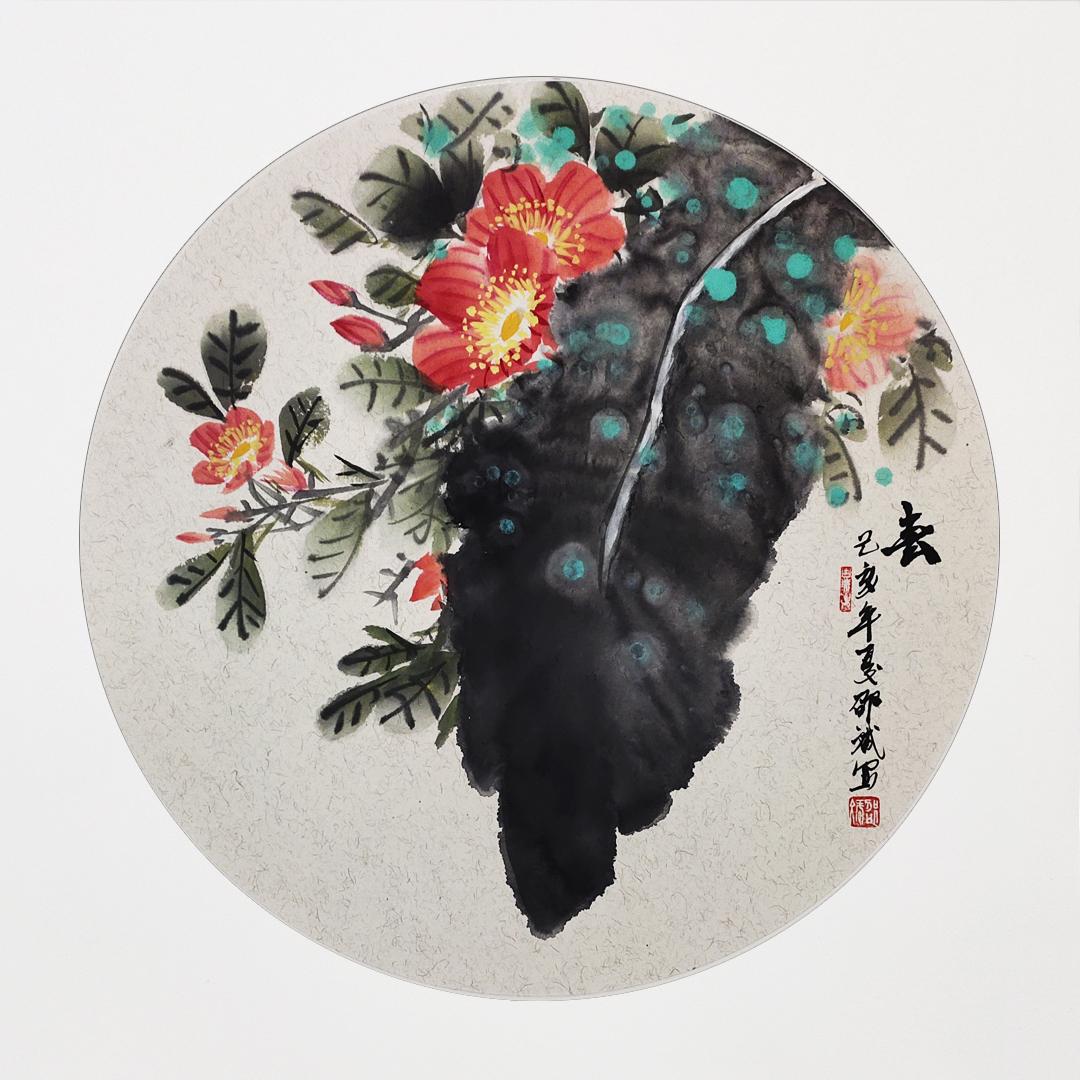 春韵 国画花鸟画 圆形扇面 己亥年夏