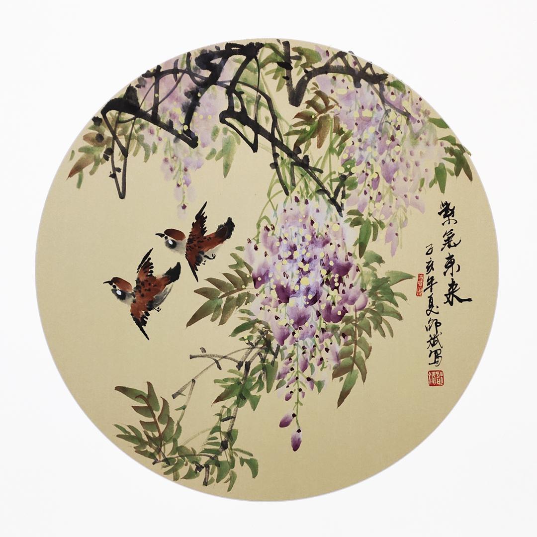 紫气东来 紫藤花、家雀 花鸟画 圆形扇面 己亥夏月