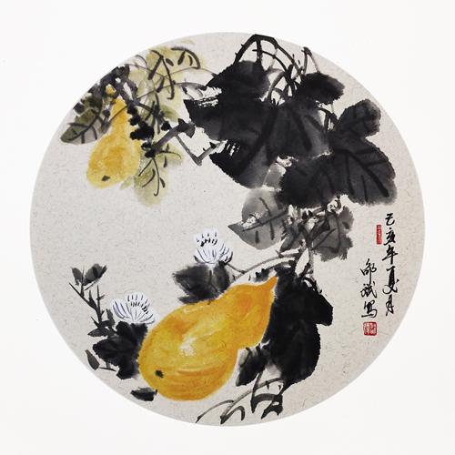 福禄吉祥  葫芦 花鸟画 圆形扇面 己亥夏月