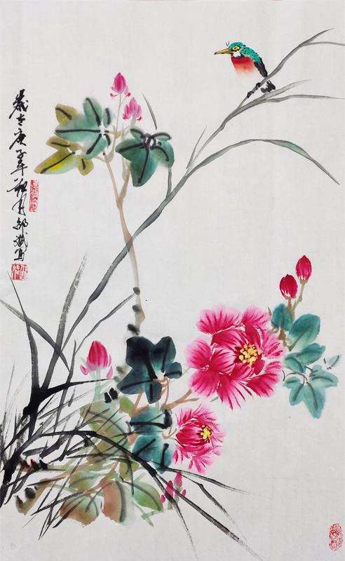 名家国画花鸟画欣赏 牡丹画国画 庚子年秋月