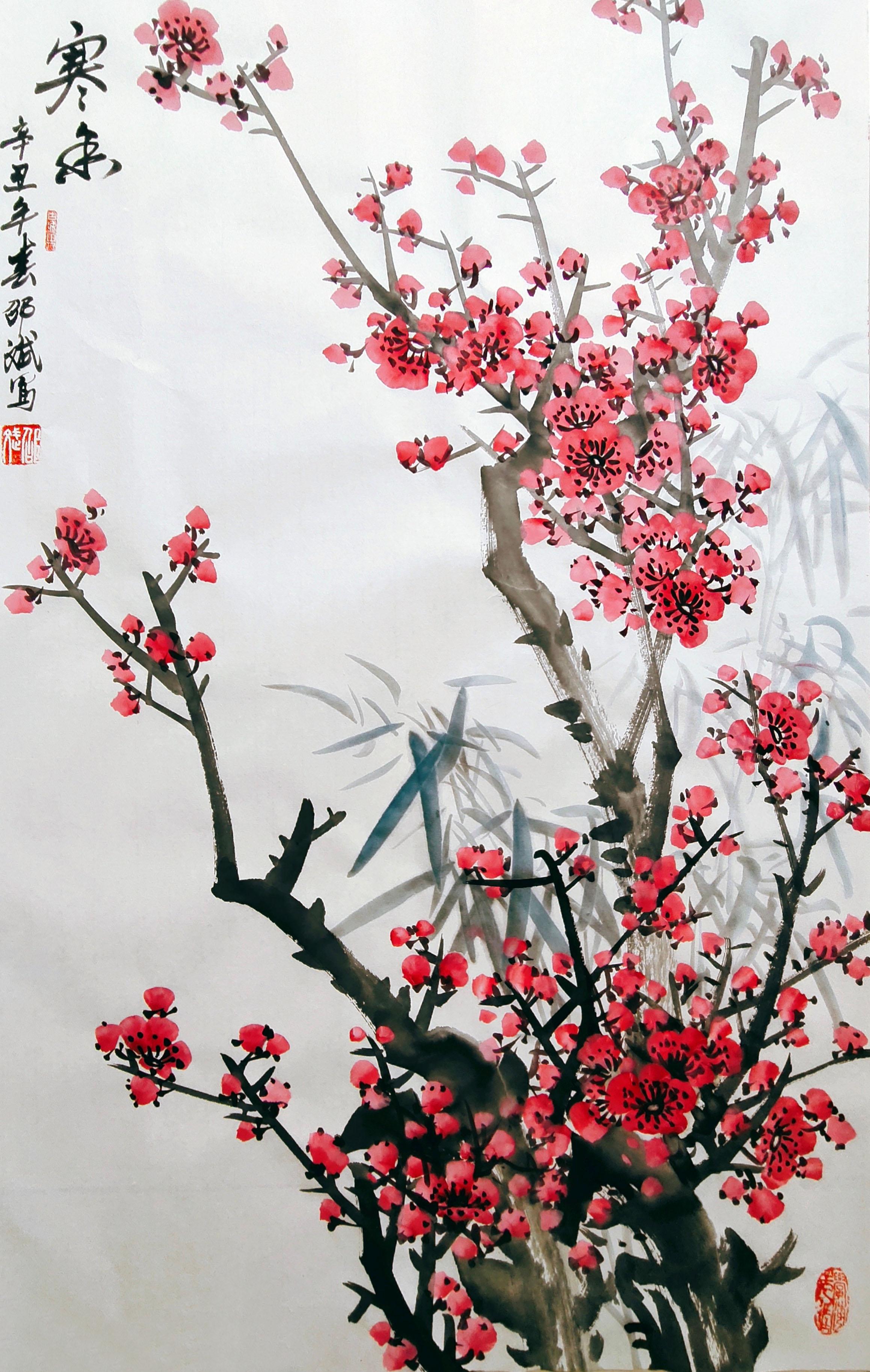 寒香 梅花国画欣赏 辛丑年春月创作