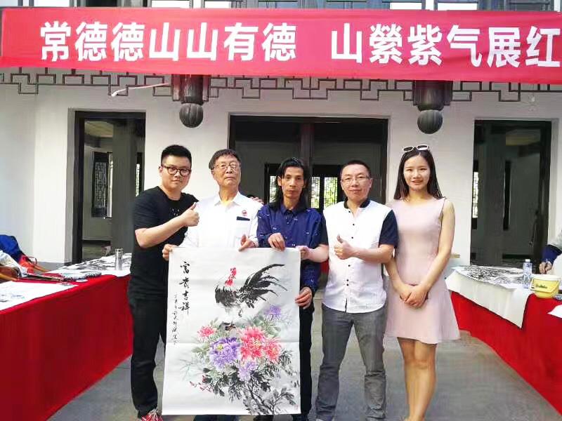 花鸟画名家邵斌老师在联合笔会创作国画《富贵吉祥》